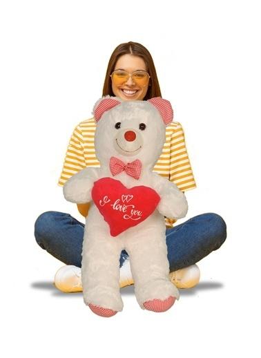 """Sole Sevgiliye Özel HEDİYE- 80 cm Papyonlu """"I love You """" Kalpli Romantik Peluş Ayı Pembe"""